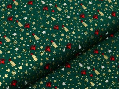 Webware Baumwolle Popeline mit Foliendruck - Weihnachtsbäume und Sterne - tannengrün