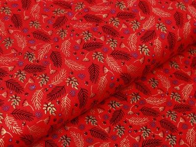Webware Baumwolle Popeline mit Foliendruck - Mistelzweige - rot