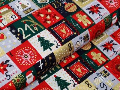 Webware Baumwolle Popeline mit Foliendruck - Weihnachtskalender und Lebkuchenmann - marine