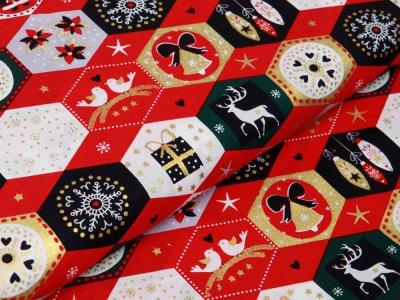 Webware Baumwolle Popeline mit Foliendruck - Weihnachtliche Figuren - rot