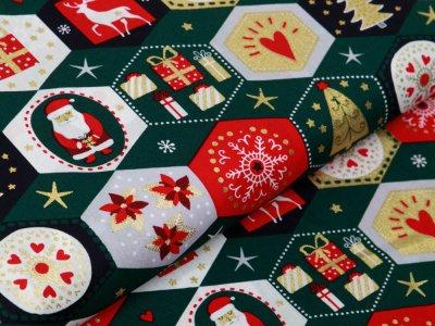 Webware Baumwolle Popeline mit Foliendruck - Weihnachtliche Figuren - tannengrün