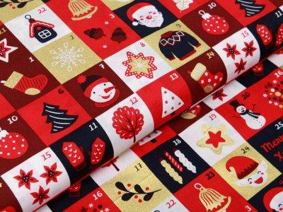 Webware Baumwolle Popeline mit Foliendruck - Weihnachtliche Figuren auf Karos - marine