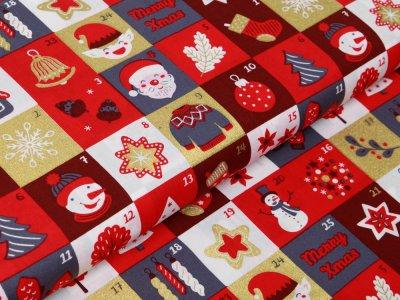 Webware Baumwolle Popeline mit Foliendruck - Weihnachtliche Figuren auf Karos - rot