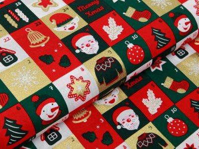 Webware Baumwolle Popeline mit Foliendruck - Weihnachtliche Figuren auf Karos - tannengrün