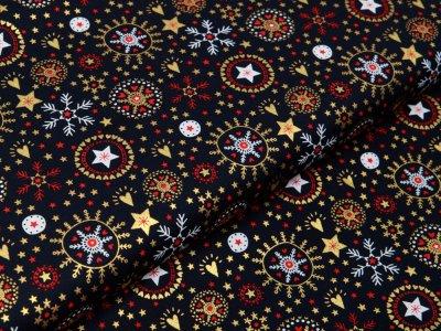 Webware Baumwolle Popeline mit Foliendruck - Weihnachtliche Kristalle und Herzen - marine