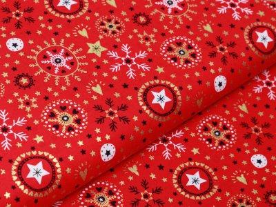Webware Baumwolle Popeline mit Foliendruck - Weihnachtliche Kristalle und Herzen - rot