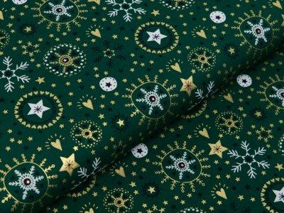Webware Baumwolle Popeline mit Foliendruck - Weihnachtliche Kristalle und Herzen - tannengrün