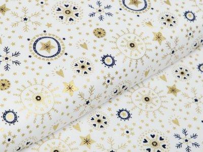 Webware Baumwolle Popeline mit Foliendruck - Weihnachtliche Kristalle und Herzen - wollweiß