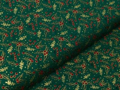 Webware Baumwolle Popeline mit Foliendruck - Stechpalmen - tannengrün