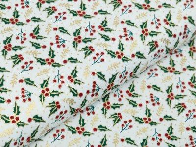 Webware Baumwolle Popeline mit Foliendruck - Stechpalmen - wollweiß