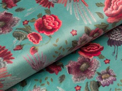 Velvet - Kraniche und Blüten - dunkles mint