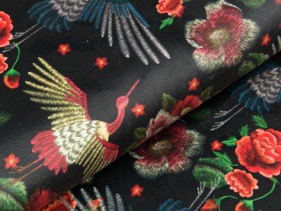 Velvet - Kraniche und Blüten - navy