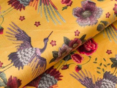 Velvet - Kraniche und Blüten - ocker