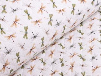 Musselin Double Gauze Rautenstepper - Libellen - weiß