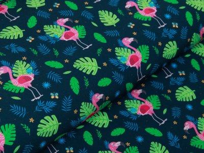 Softshell Jackenstoff Digitaldruck - Flamingos und Blätter - marine