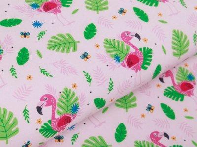 Softshell Jackenstoff Digitaldruck - Flamingos und Blätter - rosé