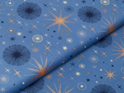 Webware Baumwolle Popeline mit Foliendruck - funkelnde Weihnachtssterne - indigoblau