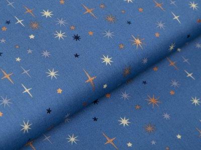 Webware Baumwolle Popeline mit Foliendruck - funkelnde Sterne - indigoblau