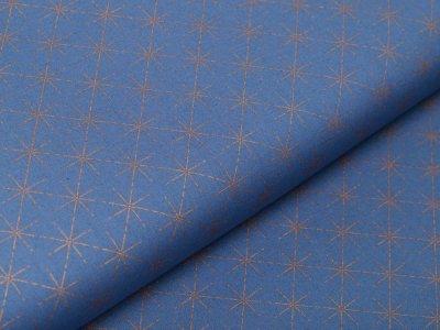 Webware Baumwolle Popeline mit Foliendruck - goldene Sterne - indigoblau