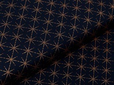 Webware Baumwolle Popeline mit Foliendruck - goldene Sterne - marine