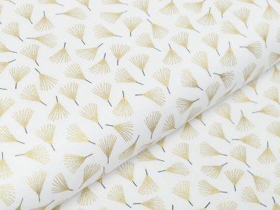 Webware Baumwolle Popeline mit Foliendruck - Everlands Zweige - wollweiß