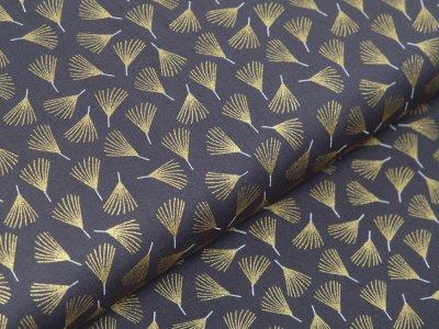 Webware Baumwolle Popeline mit Foliendruck - Everlands Zweige - grau