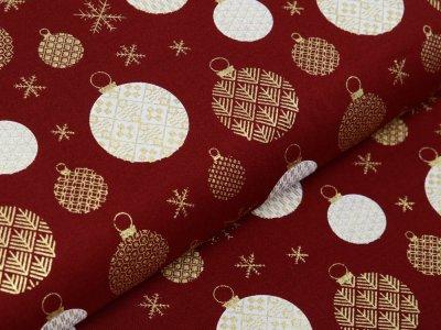 Webware Baumwolle Popeline mit Foliendruck - Weihnachtskugeln - bordeaux