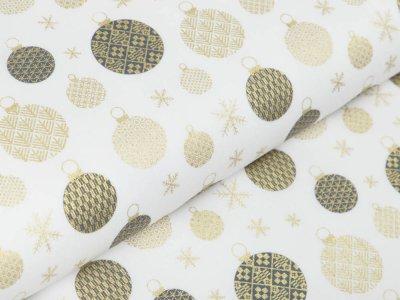 Webware Baumwolle Popeline mit Foliendruck - Weihnachtskugeln - wollweiß