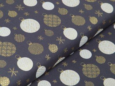 Webware Baumwolle Popeline mit Foliendruck - Weihnachtskugeln - grau