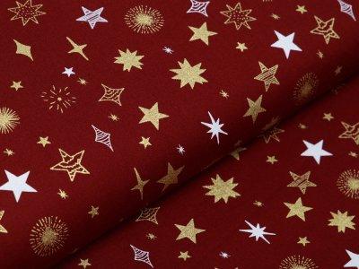 Webware Baumwolle Popeline mit Foliendruck - Weihnachtliche Sterne - bordeaux