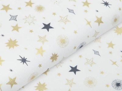 Webware Baumwolle Popeline mit Foliendruck - Weihnachtliche Sterne - wollweiß