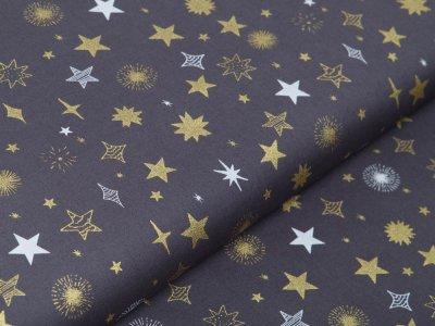 Webware Baumwolle Popeline mit Foliendruck - Weihnachtliche Sterne - grau