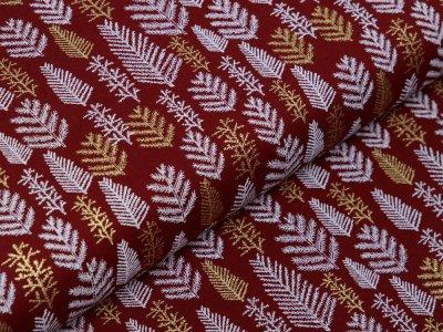 Webware Baumwolle Popeline mit Foliendruck - Weihnachtliche Tannen - bordeaux