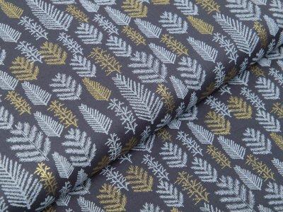 Webware Baumwolle Popeline mit Foliendruck - Weihnachtliche Tannen - grau