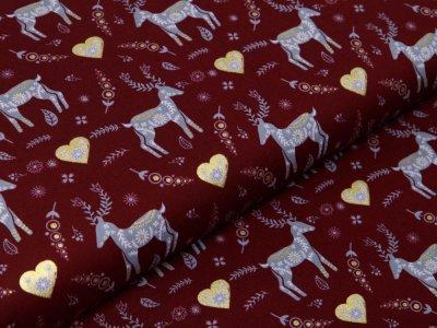 Webware Baumwolle Popeline mit Foliendruck - Weihnachtliche Hirsche und Herzen - bordeaux