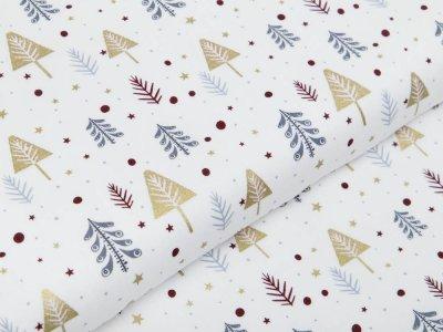 Webware Baumwolle Popeline mit Foliendruck - Tannenbäume - wollweiß