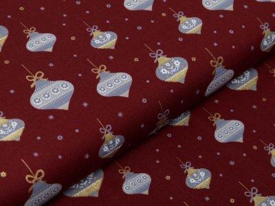 Webware Baumwolle Popeline mit Foliendruck - Weihnachtsbaumkugeln - bordeaux