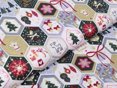 Webware Baumwolle Popeline mit Foliendruck - Weihnachtliche Patches - helles rosa