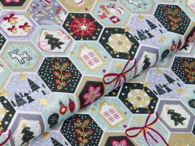 Webware Baumwolle Popeline mit Foliendruck - Weihnachtliche Patches - minze