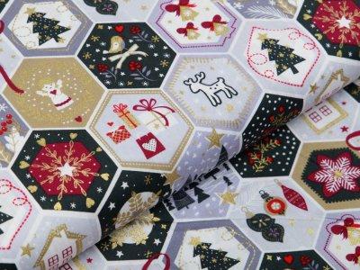 Webware Baumwolle Popeline mit Foliendruck - Weihnachtliche Patches - wollweiß