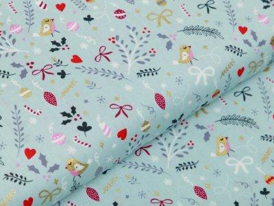 Webware Baumwolle Popeline mit Foliendruck - Geschenkschleifen und Tannenzweige - minze