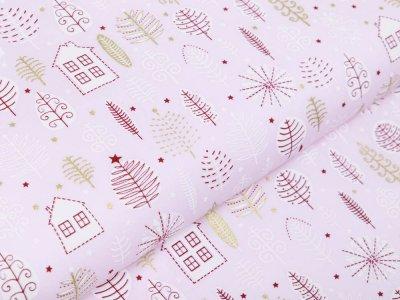 Webware Baumwolle Popeline mit Foliendruck - Weihnachtliche Bäume und Häuser - helles rosa