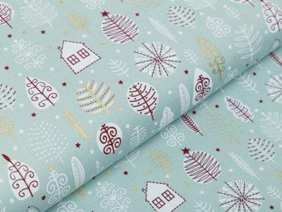 Webware Baumwolle Popeline mit Foliendruck - Weihnachtliche Bäume und Häuser - minze