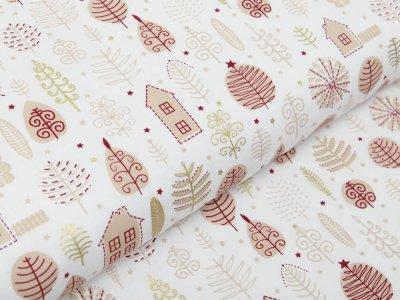 Webware Baumwolle Popeline mit Foliendruck - Weihnachtliche Bäume und Häuser - wollweiß