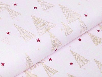 Webware Baumwolle Popeline mit Foliendruck - Weihnachtsbäume und Sterne - rosa