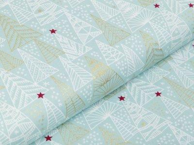 Webware Baumwolle Popeline mit Foliendruck - Weihnachtsbäume und Sterne - minze