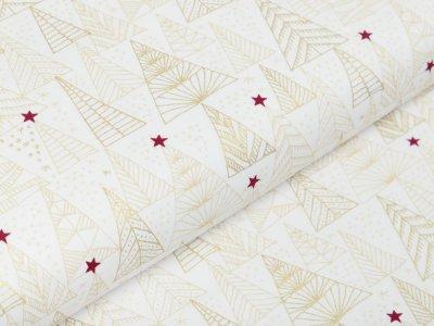 Webware Baumwolle Popeline mit Foliendruck - Weihnachtsbäume - wollweiß
