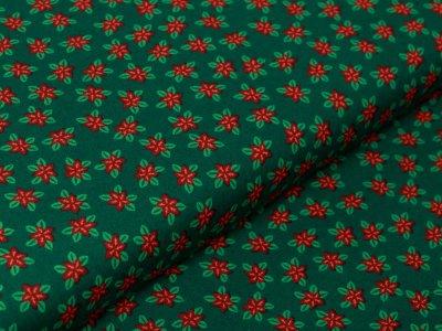 Webware Baumwolle Popeline - Christsterne - tannengrün