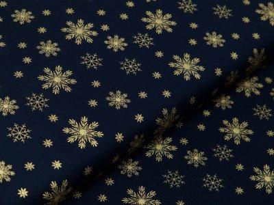 Webware Baumwolle Popeline mit Foliendruck - goldene Schneeflocken - marine