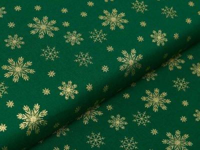 Webware Baumwolle Popeline mit Foliendruck - goldene Schneeflocken - tannengrün